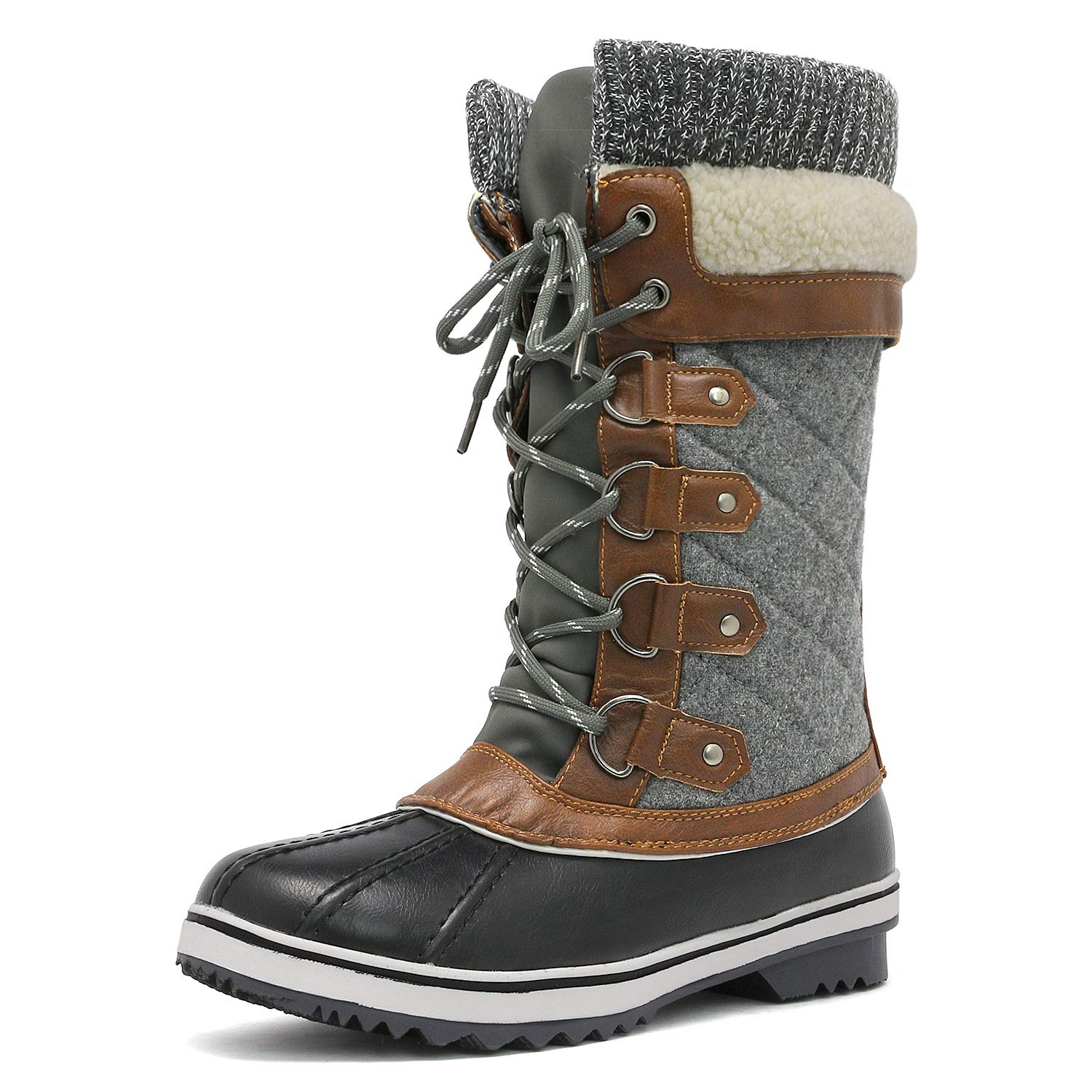DREAM PAIRS Women's Monte_02 Black Grey Mid Calf Winter Snow Boots Size 9 M US by DREAM PAIRS