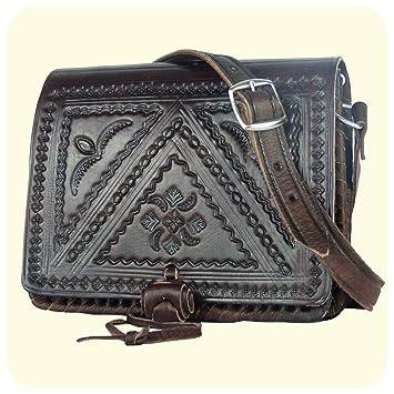 """c23b379984326 Leder Handtasche """"Casablanca"""" 16x19cm in dunkelbraun • marokkanische  Umhängetasche mit dekorativer Lederprägung • 100"""