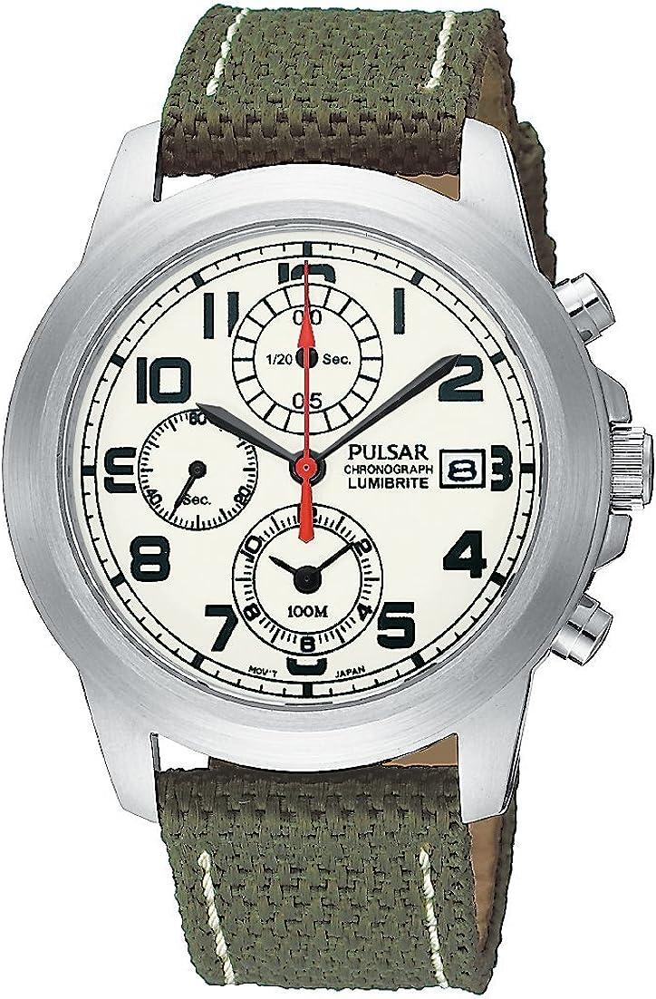 Pulsar Men s PF8193 Chronograph Camo Green Strap Watch