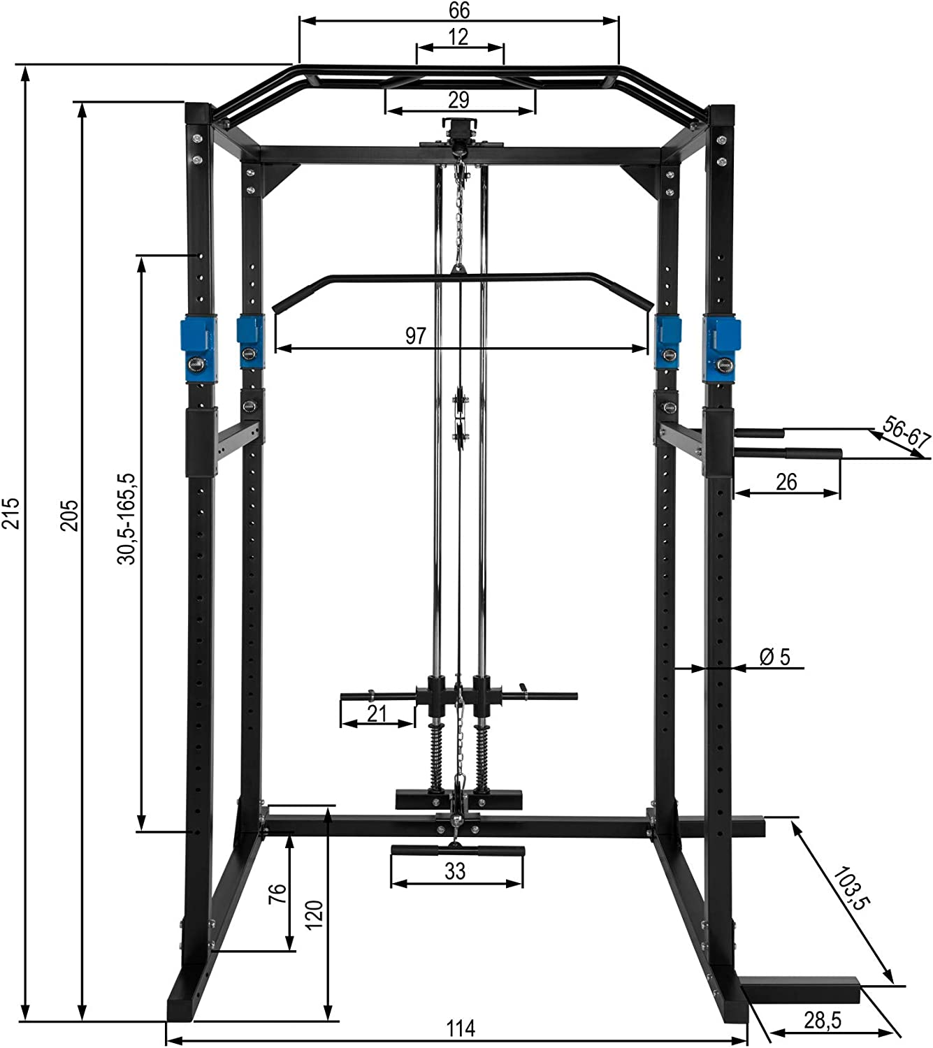 TecTake Fitness Power Station   2 solid safety bars   Double pull-up bar   Add-on dip bars - different colours and models