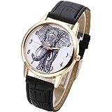 JSDDE Montre Quartz Motif Elephant Cadran Or Style Simple Bracelet Cuir Synthétique Noir
