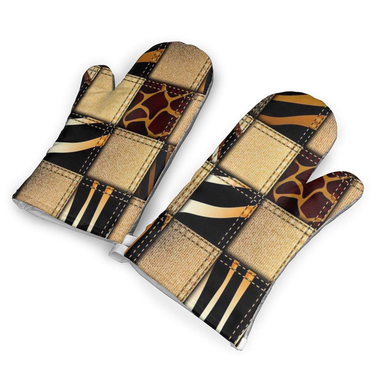 Feederm Jeans Denim Patchwork in Safari Style Oven Mitts,Professional Heat Resistant Microwave Oven Insulation Thickening Gloves Baking Pot Mittens Soft Inner Lining Kitchen Cooking