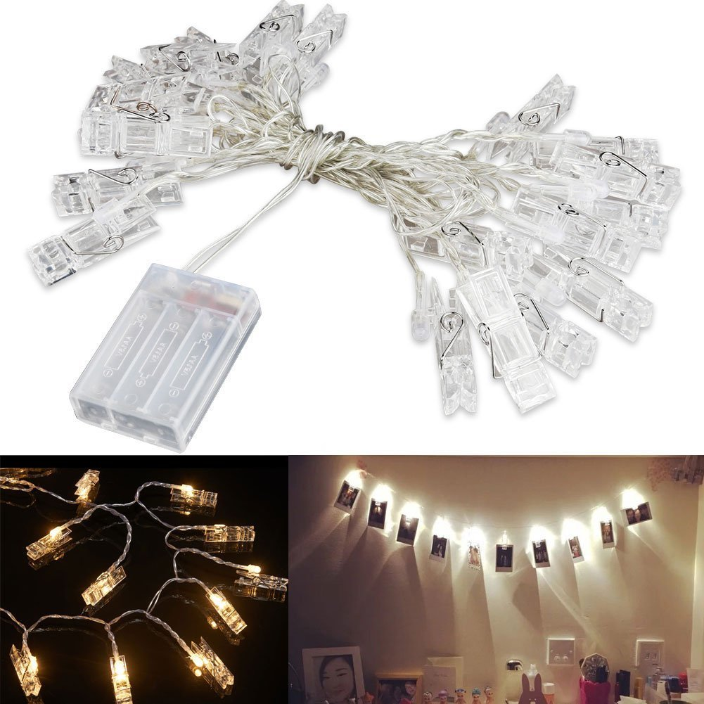 LED String Light with Clothespins, Clip, for Hanging Pictures, Photos, Artworks and More.. by gogomall (Image #7)
