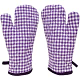 ELAN Cotton Microwave Oven Gloves 18 X 32 CM (Purple ) (Set of 2)