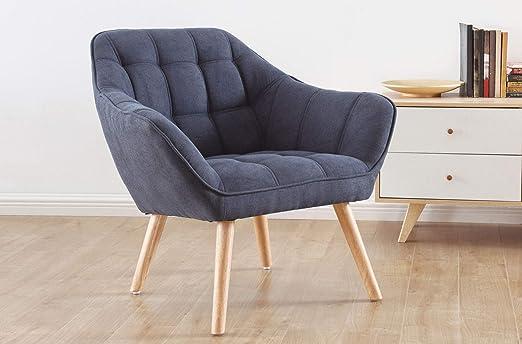SuenosZzz- Sillon butaca de Relax nordica Golden. Butaca descalzadora, Sillón tapizado en Tela Azul. Relax Confort.