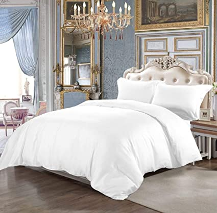 100/% Egyptian Cotton TC 400 Plain Dyed White Duvet Quilt Cover with Pillowcase