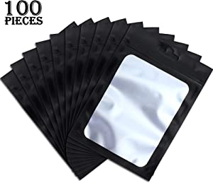 100 Pieces Resealable Mylar Ziplock Food Storage Bags with Clear Window Coffee Beans Packaging Pouch for Food Self Sealing Storage Supplies (Black, 4 x 6 Inch)