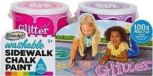 RoseArt Washable Sidewalk Chalk Paint 2ct Glitter Pnk/purp