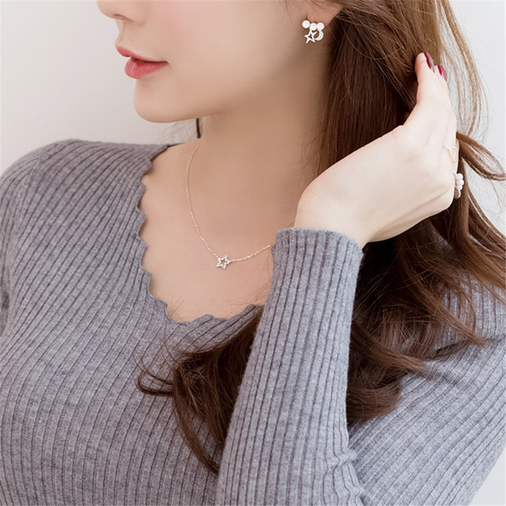 Dana Carrie Women jewelry S925 sterling silver hollow star pendant gift clavicle necklace