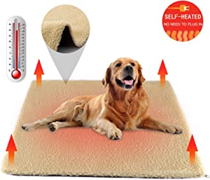 Nemobub Pet Heating Pad,Thermal Thick Cashmere Self-Heating Blanket Mat,Cordless Dog Cat Heating Pad Outdoor,Replaceable Washable Cover,Anti-Slip Bottom,Suit for Most Dog Cat Bed Cage,24'' x18''