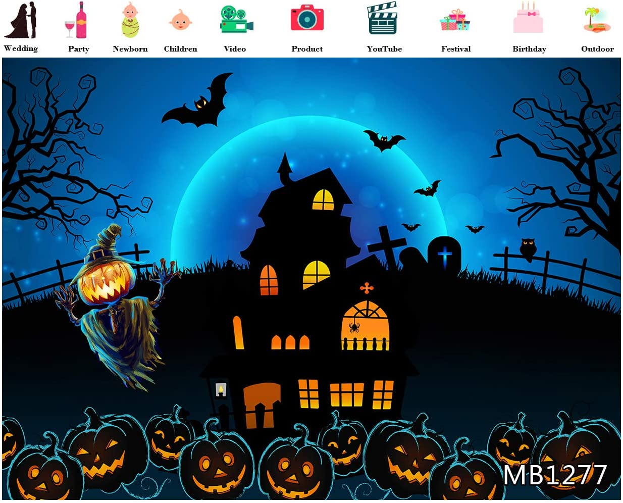 LB 10x8ft Halloween Pumpkin Themed Backdrop for Photography Horror Night Fairy Tale Castle Background for Party Decorations Witch and Bat Backdrop for Banner Photo Booth Backdrop Props