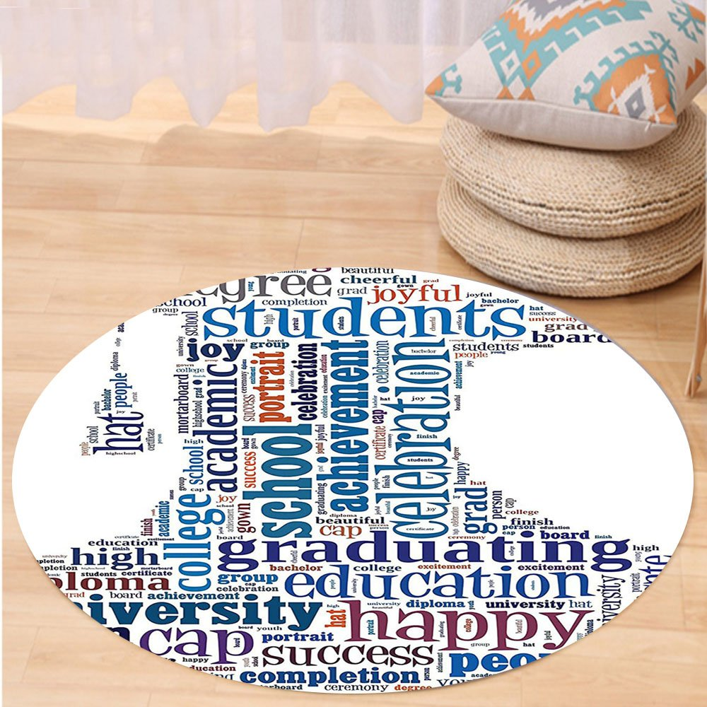 VROSELV Custom carpetGraduation Education Cap Arrangement with Words Bachelor School Young Student Grown Design for Bedroom Living Room Dorm Multi Round 24 inches