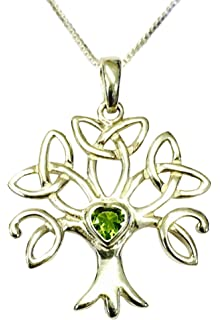 [Sponsored]Sterling Silver Celtic Trinity Tree of Life Birthstone Necklace - August
