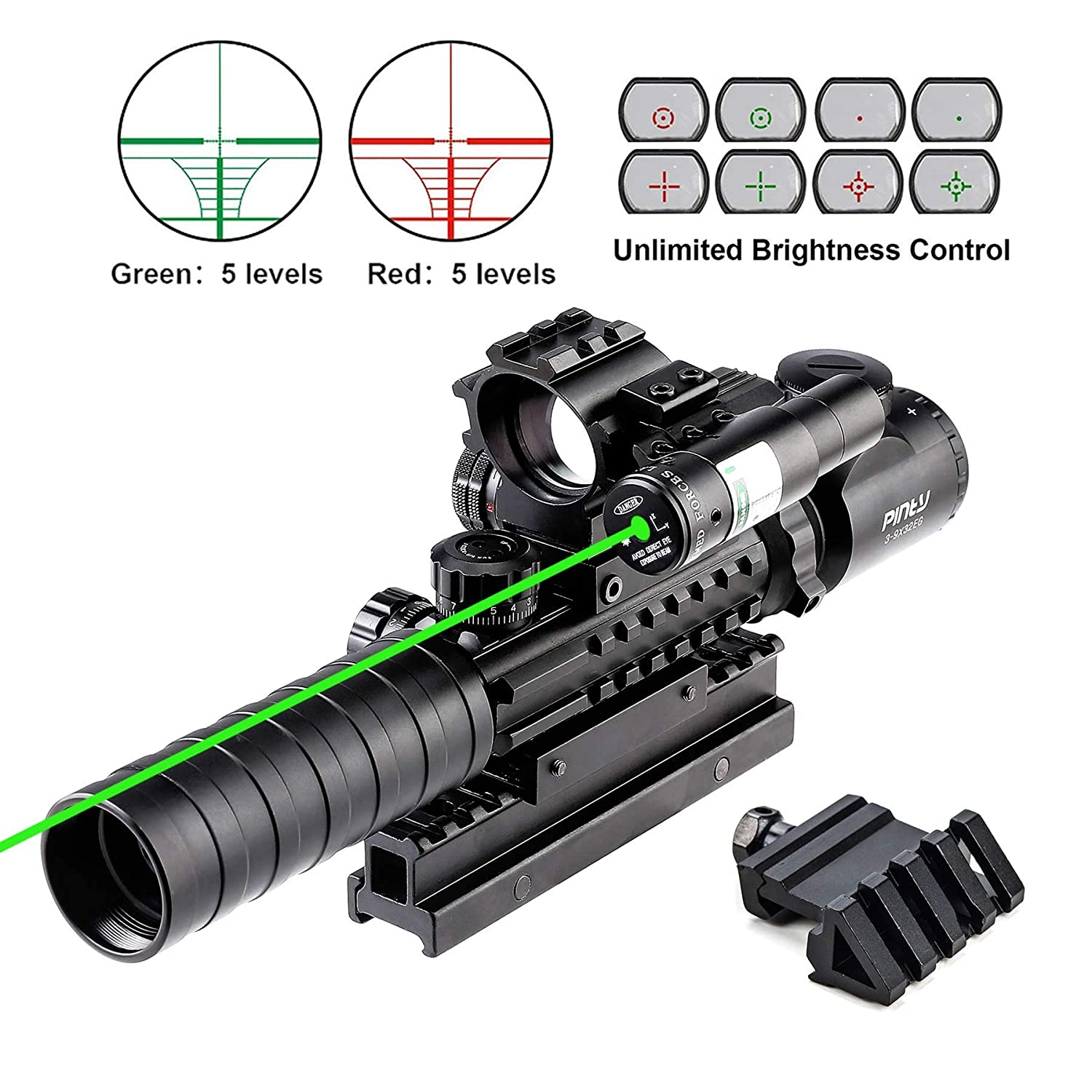 Pinty Rifle Scope 3-9×32 Rangefinder Illuminated Optics Red Green Reflex 4 Reticle Sight Green Dot Laser Sight with 14 Slots 1 inch High Riser Mount,45 Degree Mount