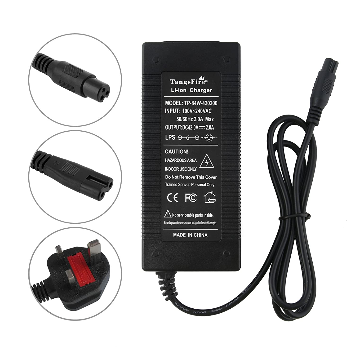 TangsFire 36V 2A Lithium Battery Charger for Ebike Powerboard Mini 3-Prong Max 42V 2A