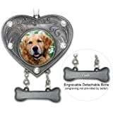Dog Memorial Photo Ornament - In Loving Memory Dog Ornament - Heart Shaped Photo Ornament with Crystals - Dog Sympathy Gift - Dog Remembrance - Dog Bereavement