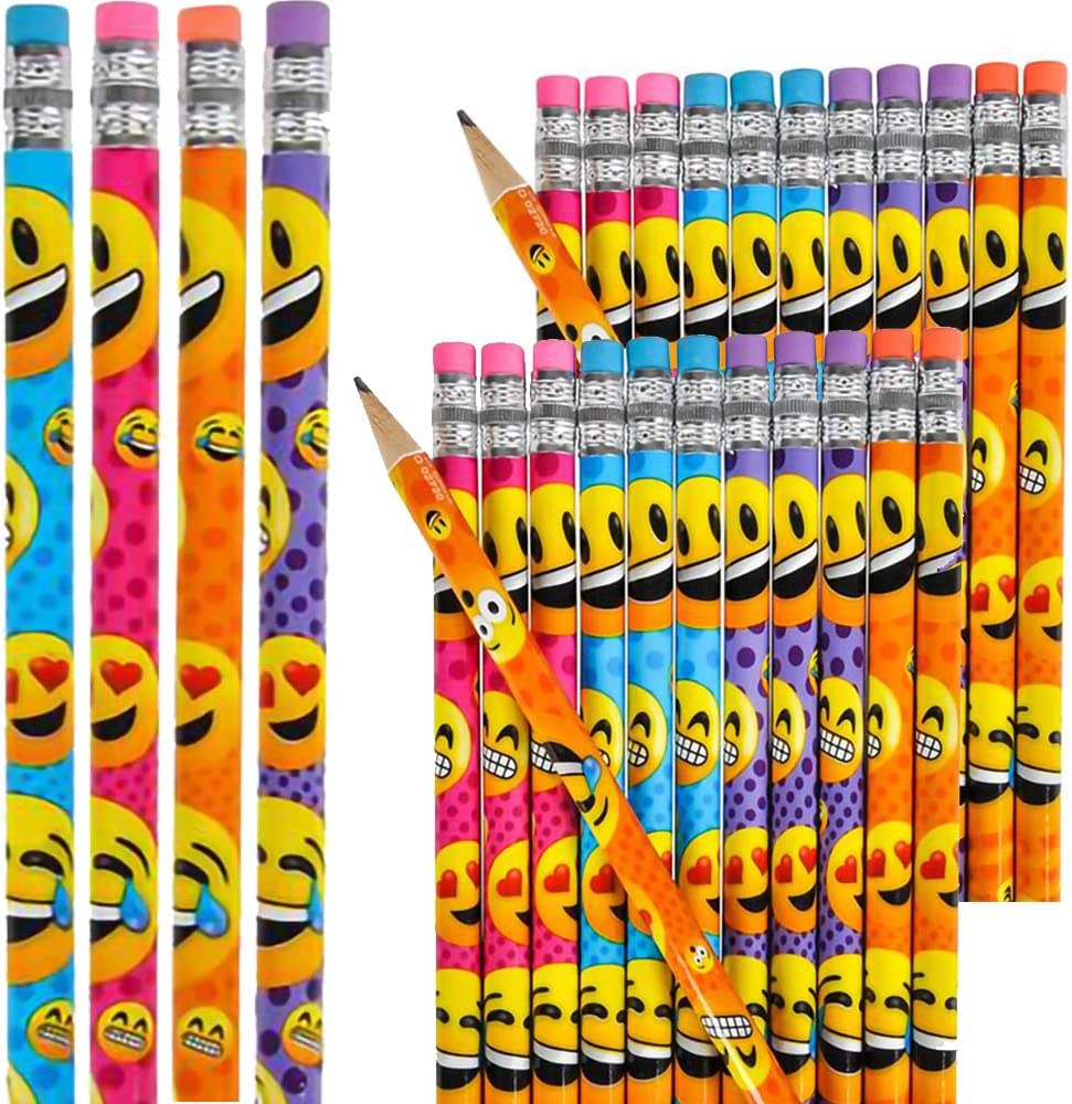 School Supplies Emoticon Emoji Pencils 24-Pack 7.5 Pencil Birthday Giveaways Party Favors Prizes for Kids