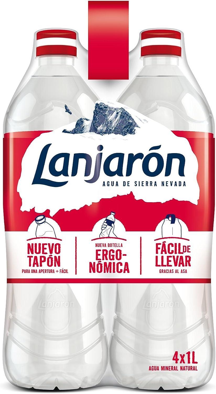 Lanjarón, Agua Mineral Natural botella ergonómica - Pack de 4 x 1L: Amazon.es: Alimentación y bebidas