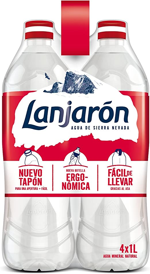 Lanjarón, Agua Mineral Natural botella ergonómica - Pack de 4 x 1L ...
