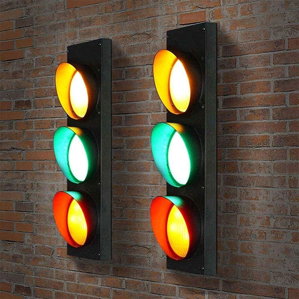 Suitable for Living Room ,Black with Remote Control Interior Wall lamp Wall lamp Stairs Hallway Traffic Signal Wall lamp Street Sign Warning Light Bedroom