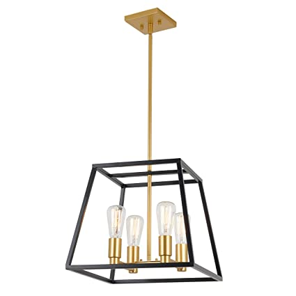 Artika CAR15-ON Carter Square 4 Pendant Light Fixture, Kitchen Island Chandelier, with a Steel Black and Gold Finish - - Amazon.com