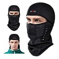 KINGBIKE Pasamontañas Balaclava Máscara Prueba de Viento Elásticos en Tejido para Ciclismo Esqui Moto Snowboard Mujere y Hombre,Negro