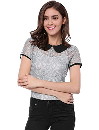4a12a646be81d0 Allegra K Women's See Through Contrast Peter Pan Collar Lace Top XS Grey
