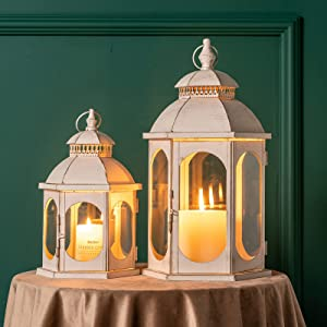 DECORKEY Decorative Candle Lanterns, Pack of 2 White Hanging Lantern Set with Clear Glass, Vintage Metal Tabletop Lantern, Candle Holders for Outdoor Patio Wedding Party Decor( 18