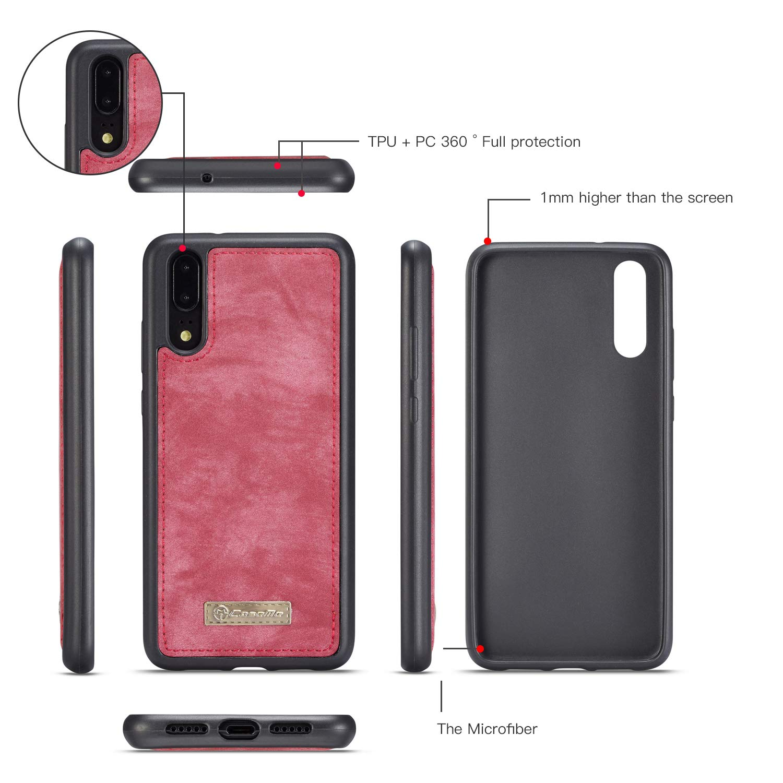 Huawei P20 Pro Wallet Case,Huawei P20 Pro Leather Wallet Case Flip Magnetic Detachable Case,Premium Cowhide Leather Purse Phone Cover with Flip Card Slots for Huawei P20 Pro Huawei P20 Pro, red