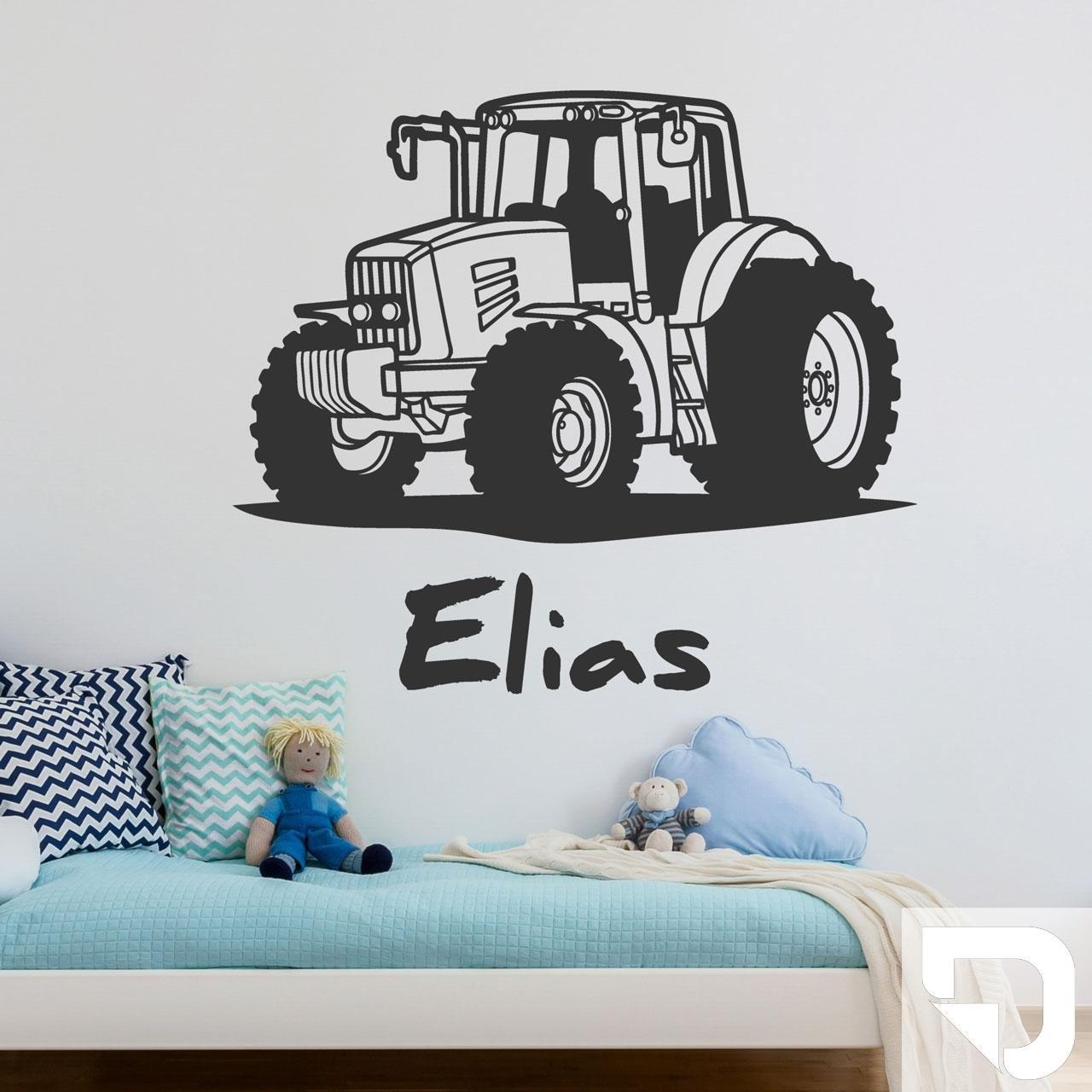 DESIGNSCAPE® Wandtattoo Traktor Traktor Traktor mit Wunschname   Wandtattoo Junge Kinderzimmer 90 x 60 cm (Breite x Höhe) schwarz DW808182-M-F4 B071HWYHRN Wandtattoos & Wandbilder 8c673c