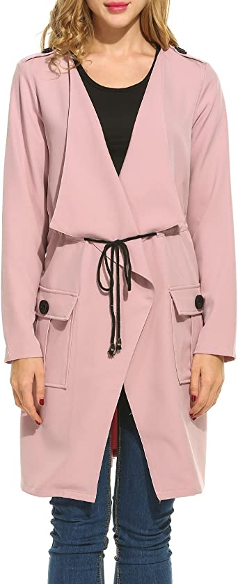 Lightweight Wrap Notched Lapel Jacket with Self-Tie INVOLAND Plus Size Trench Coats for Women