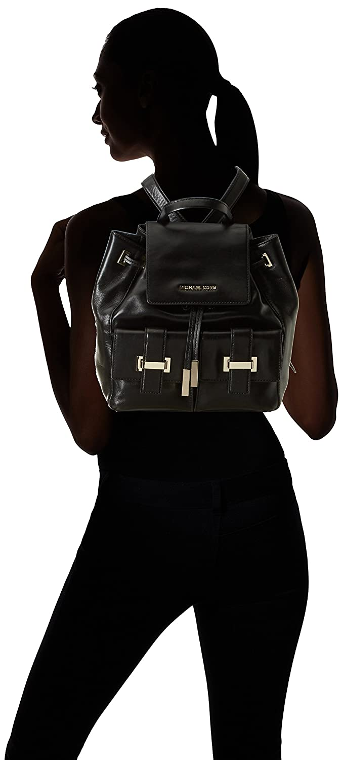 e3cc3c5a37ba Michael Kors Women s Marly Drawstring Leather Backpack Backpack Black black   Amazon.co.uk  Shoes   Bags