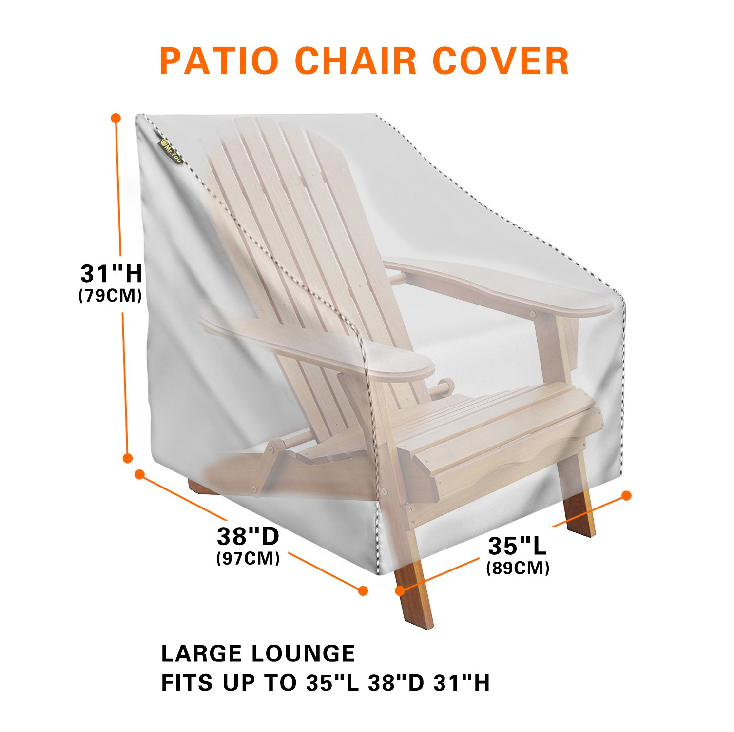 Mr.You Waterproof Patio Chair Covers for outdoor Heavy Duty For Spring Sliver No tearing No fading 5 Years Warranty L35in D38in H31in