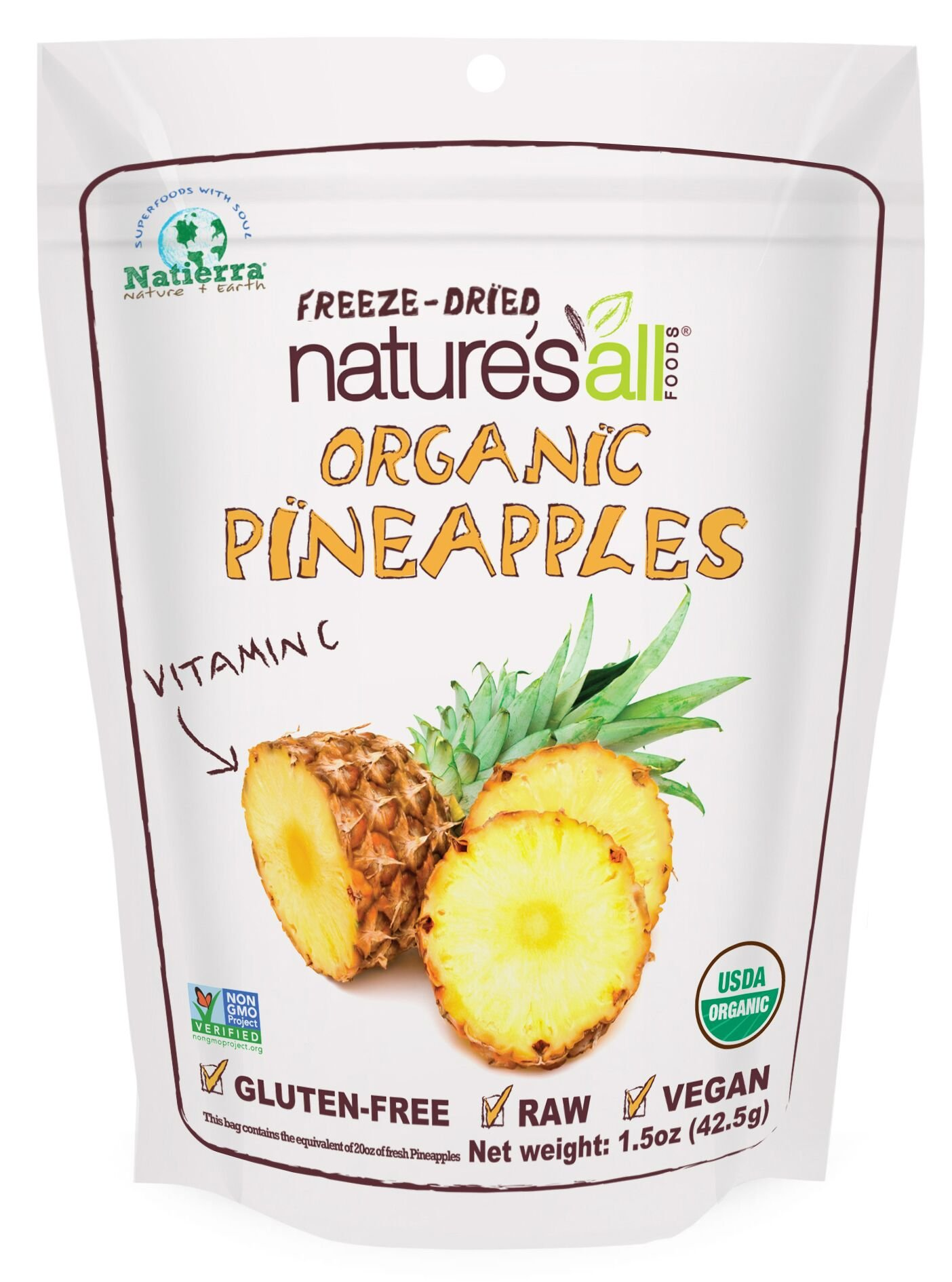 Natierra Nature's All Foods Freeze-Dried Pineapples, 1.5 Ounce by Natierra