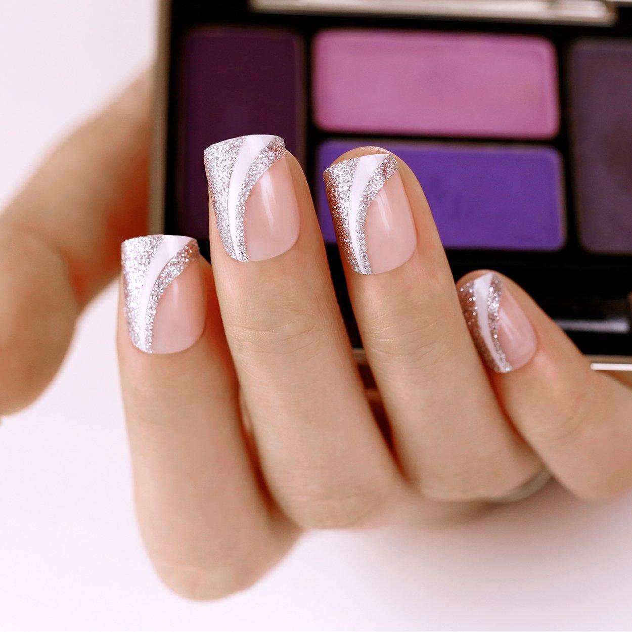 ArtPlus Uñas Postizas Falsas Artificial 24pcs Saturn Silver Elegant Touch False Nails with Glue Full Cover Medium Length Fake Nails Art: Amazon.es: Belleza