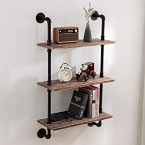 ROGMARS Industrial Wall Shelves Rustic Industrial Pipe Shelving Kitchen Pipe Shelves 3 -Tier Floating Bookshelf with Galvanized Pipe Design(Brown Board, 19.7 Inch)