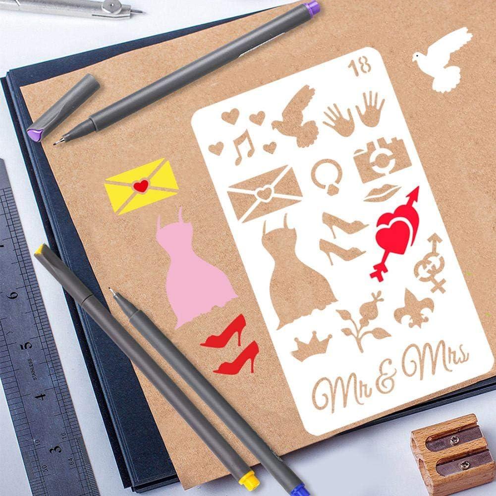 Tagebuch Inklusive Briefschablone Zahlenschablonen 7/× 4 24 St/ück Journal Zubeh/ör Schablonen Journaling Zubeh/ör Set Zum Basteln Wiederverwendbar F/ür Notizbuch DIY Scrapbook