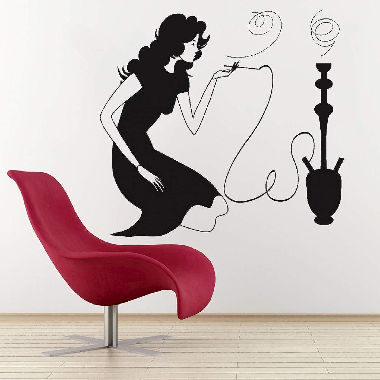 SUPWALS Adhesivo de pared de humo de la cachimba shisha árabe café decoración del hogar sexy mujer fumando vinilo pegatinas de pared sala de estar arte decoración