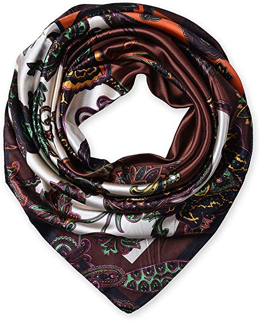 "NEW Women/'s Cute Heart Square Scarf Soft Satin Head Fashion Print Shawl 35/""*35/"""