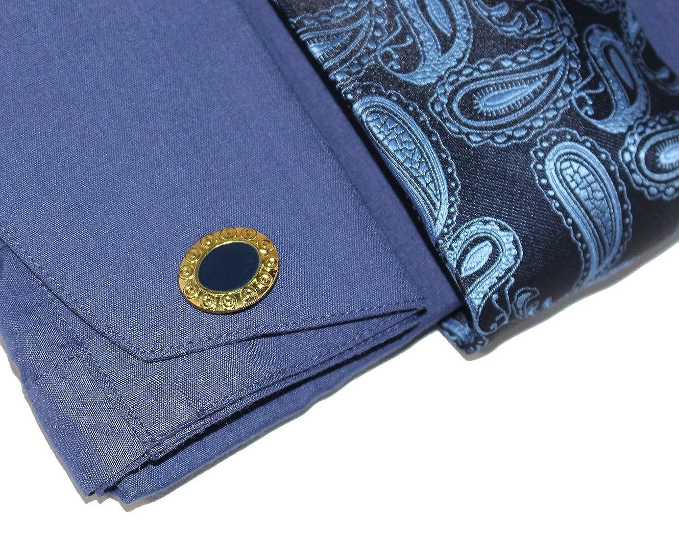 Allen Mens Metal Paisley On Collar Regular Fit Dress Shirts with Metal Fabric Tie Hanky Cufflinks Combo C