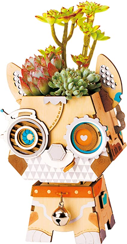 Cat Rolife Art Craft Toys Lovely Flower Pots-Planters /& Container for Succulents /& Plants-Self Assembly 3D Wooden Puzzle-Best Toys For Boys and Girls-Creative Gift For Birthday