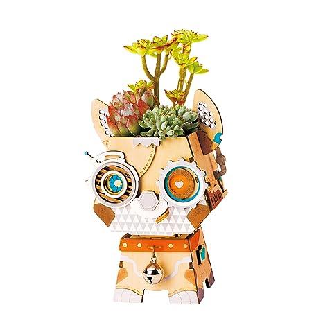 ROBOTIME Lindo Gato Flower Pot - Láser de Corte de Madera Puzzle Building Plant Pots (