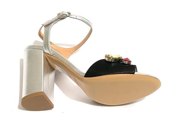 Damen Sandale mit Absatz, Silver/Nero - Größe: 40 EU Imma Albergo