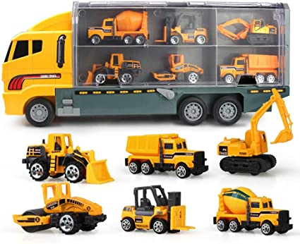 Jenilily Construction Truck Vehicle Container Car Toy Set Trucks Excavator Cement Truck Dumper Bulldozer Forklift Road Roller for Children Kids (7 in 1)