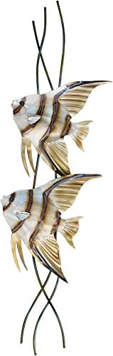 T.I. Design Angelfish Pair Vertical Facing Left Contemporary Coastal Metal Wall Decor