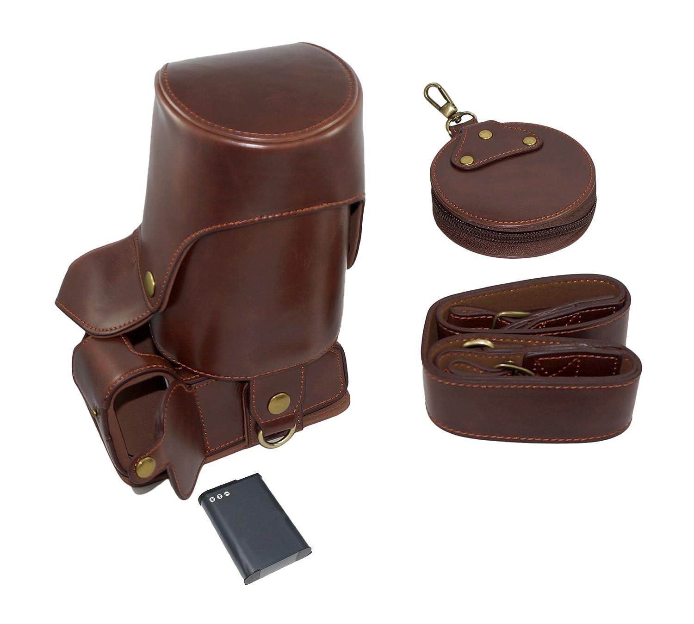Plein de fond de protection d'ouverture Version protection en cuir PU Camera Bag Case avec tré pied design Compatible Pour Nikon D3300 avec l'é paule de cou de ceinture et de la carte de stockage Case Brown SundayZaZa SLR-Kasten