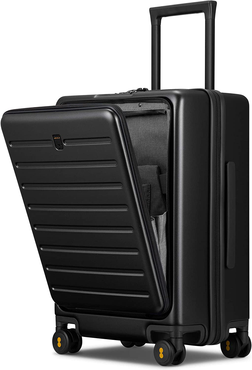 LEVEL8 Road Runner Carry On Luggage, 20-Inch Hardside Suitcase, Spinner Luggage with Front Pocket, Double TSA Locks - Black