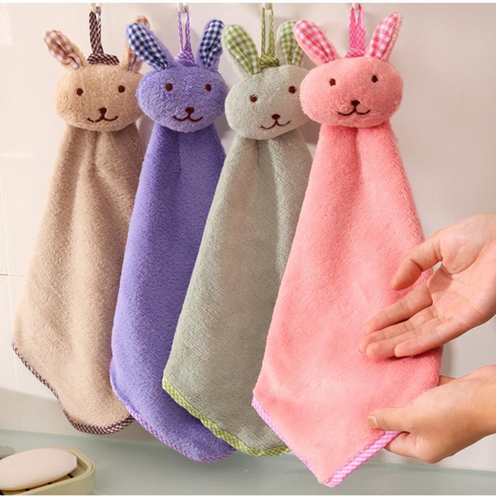 STRIR Toalla de mano suave para niño en felpa y con colgador, Color aleatorio