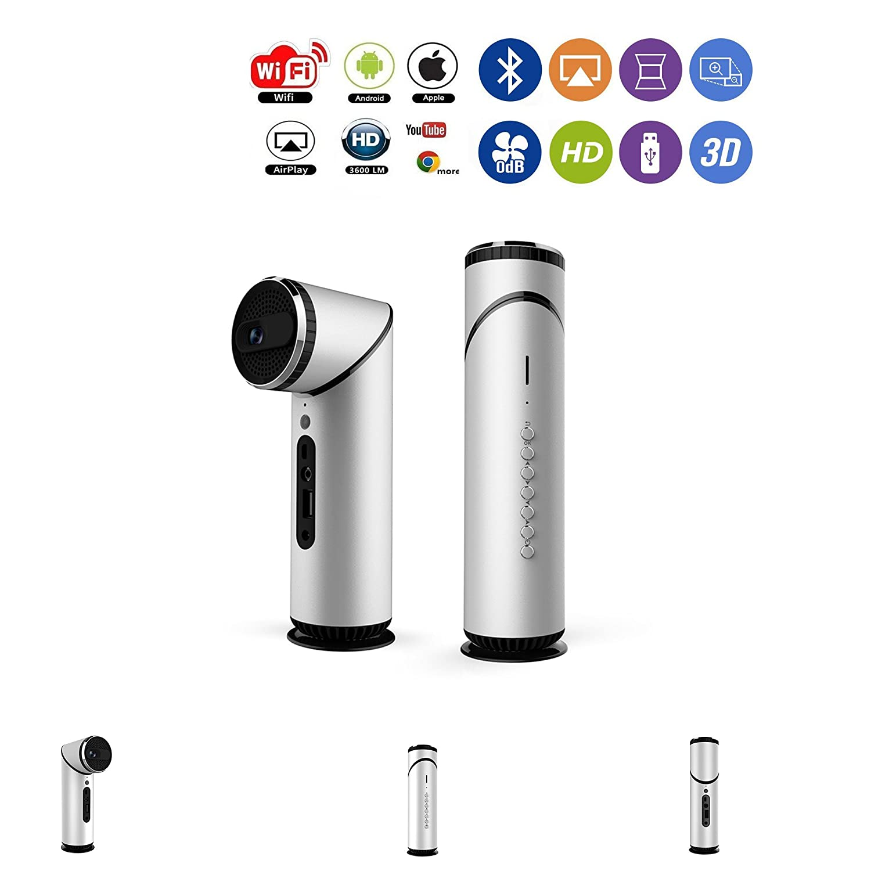 プロジェクターポータブルスマート、ミニ、スチール~サブウーファー外観特許、Bluetooth、WiFi、100ANSI、1080P、8G ROM+1G RAM、DLP、TI、Andriod + iOSおよびAndroidデバイス、ステレオスピーカー、USB、TF。 Mini K5 WON-K5 B07C91TTKM シルバー(Silver)