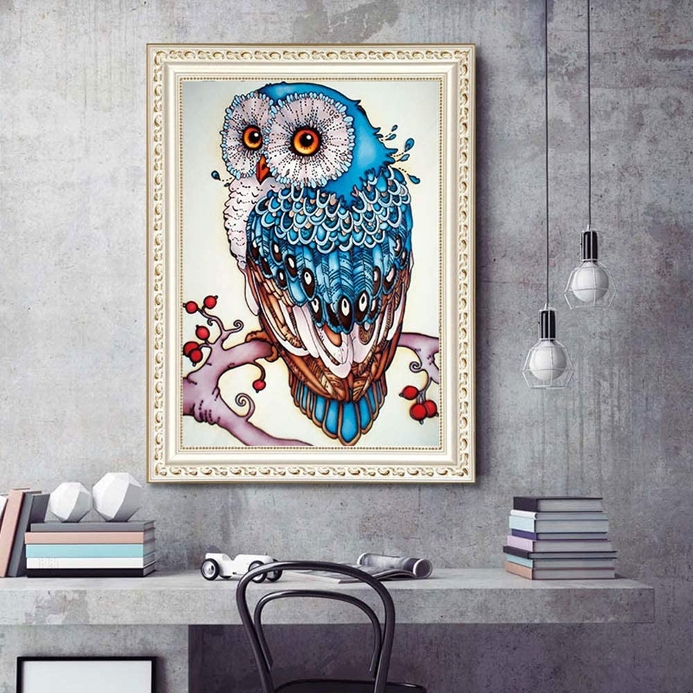 DIY 5D Diamond Painting by Number Kit,Owl Home Decor,Owl Diamond Painting Kits for Adults Rhinestone Embroidery Cross Stitch Kits Supply Arts Craft Canvas Wall Decor Stickers Home Decor 30x40 cm